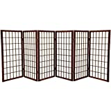Oriental Furniture 3 ft. Tall Window Pane Shoji Screen - Walnut - 6 Panels
