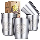 Stainless Steel Shot Glasses (Set of 6) - 2 oz Unbreakable Metal Shooters for Whiskey, Tequila,...