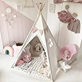 Kids Teepee Tent for Kids Play Tent with Mat & Carry Case for Indoor Outdoor, 5' Raw White Canvas...
