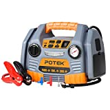 POTEK Portable Power Source: 1500 Peak/750 Instant Amps Jump Starter, 300W Inverter,150 PSI Air...