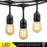 48Ft LED Outdoor String Lights with 15 Dimmable S14 Edison Bulbs, Shatterproof Commercial Grade...