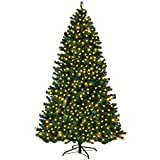 Goplus 7FT Pre-Lit PVC Artificial Christmas Tree Auto-Spread/Close up Premium Spruce Hinged w/ 300...