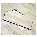 Vinyl Top Multi-Purpose Basement Flooring Tiles 12' x 24' - Covers 2 SQ FT per Tile (Sahara Beige...