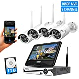 [8CH Expandable]All in one with 10.1' Monitor Wireless Security Camera System,HisEEu 8ch Wireless...