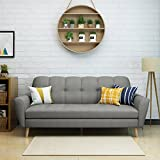 Great Deal Furniture 303690 Angelina Mid Century Grey Fabric Sofa, Natural
