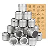 Juvale 20-Pack Magnetic Spice Containers - Storage Tins with Transparent Lids, Seasoning Organizers,...