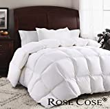 ROSECOSE Luxurious Goose Down Comforter Queen Duvet Insert All Seasons Solid White Hypo-allergenic...