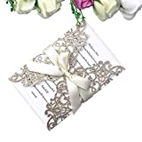 PONATIA 25PCS 5.12 x 7.1 '' Laser Cut Bling Wedding Invitations Cards with Ivory Ribbons for Wedding...