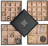Glenor Co Earring Organizer Tray - 4 Stackable Trays Lid -45 Slot Classic Jewelry Storage Display...