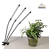 Triple-Head Indoor Plant Light with Red and Blue 30W LED Light Bulbs   Grow Light with Timer for...