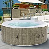 GYMAX Outdoor Spa, 6 Person Portable Inflatable Hot Tub with Accessories Set for Relaxation...