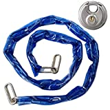 Heavy Duty 48' Coated Metal Chain & Lock - Bicycle Security Anti-Theft Lockset with Disc Padlock
