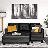 Best Choice Products 3-Seat L-Shape Tufted Faux Leather Sectional Sofa Couch Set w/Chaise Lounge,...