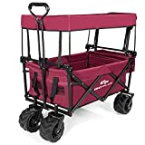Goplus Collapsible Folding Wagon Cart, Utility Garden Cart Collapsible Outdoor Trolley with Sun/Rain...