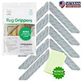 Non Slip Rug Gripper Pads: 8 Reusable Corner Carpet Tape Grippers - Adhesive No Skid Anti Slip Pad...