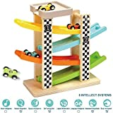 TOP BRIGHT Toddler Toys For 1 2 Year Old Boy And Girl Gifts Wooden Race Track Car Ramp Racer With 4...
