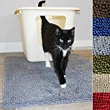 Enthusiast Gear Cat Litter Box Mat for Kitty | Washable Easy Clean Rug with Scatter Control - Traps...