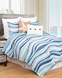 C&F Home Seawaves Sea Waves Ocean Coastal Full/Queen 3 Piece Nautical Beach Theme Quilt and 2 Shams...