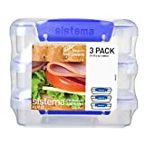 Sistema KLIP IT Collection Sandwich Box Food Storage Container, 1.9 Cup, Clear/Blue, 3 Pack| BPA...