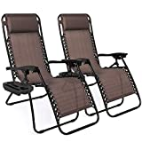 Best Choice Products Set of 2 Adjustable Zero Gravity Lounge Chair Recliners for Patio, Pool w/ Cup...