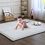 Baby Play Mat, Soft Play Rugs for Boys Girls Infant Baby Toddler Nursery, Thick Grey Rug for Living...