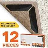 12pc Premium Large Size Anti Curling Carpet Tape Rug Gripper - Will Keep Rug in Place & Keep Corners...