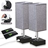 ZEEFO USB Table Lamp, Gray Square Fabric Shade Bedside Table Lamp with Two AC Outlet & Fast Dual USB...