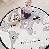 GABWE World Map Rug Round Baby Crawling Mats Child Activity Round Carpet(Diameter 53 inches)