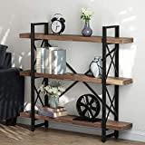 LITTLE TREE Bookcase, 47.24 Inches Solid Wood 3-Tier Industrial Style Bookcases and Book Shelves,...