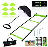 Fitness Kings 20FT Agility Ladder Speed and Agility Training Set with Running Parachute & Loop...
