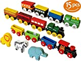 ToysOpoly Wooden Train Set 12 PCS - Magnetic Engines With 3 Bonus Animals - Deluxe Toys For Kids...