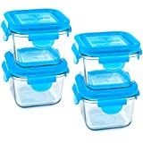 Wean Green Snack Cubes LeakproofTempered Glass Food 7 Ounce Containers, Blueberry, Set of 4