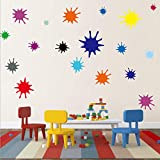 Kids Wall Decals Primary Color Paint Splash Room Decor Wall Art Colorful Nursery Wall Decor Stickers...