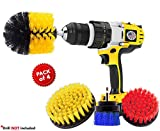 4 Piece Power Drill Brush, Power Scrubber Attachment Set for Cleaning, All Purpose Cleaning Brushes...