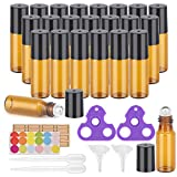Essential Oil Roller Bottles, 24 Pack Amber Glass Roller Bottles 5ml, Roller Balls for Essential...