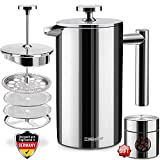 Mueller French Press Double-Wall Stainless Steel Mirror Finish (34oz) 20% Heavier Duty Coffee/Tea...