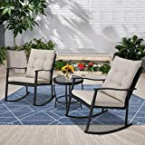 Incbruce Outdoor Rocking Chair Bistro Set 3-Piece Patio Furniture Sets All-Weather Steel Frame | Two...
