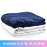 Roore 5 lb Children's (for 40 to 60 lb child) 36'x48' Navy Blue and Gray Weighted Blanket with...