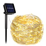 AOYOO Solar String Lights, Approved 33ft with 100 LEDs Solar Powered Starry Lights, 8 Modes Copper...