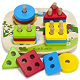 BettRoom Toddler Toys for 1 2 3 4-5 Year Old Boys Girls Wooden Educational Preschool Shape Color...