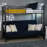 Walker Edison Twin-Over-Futon Convertible Couch with Metal Frame and Ladder Bunk Bed, Black