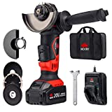 NoCry 20V 4 1/2' Cordless Angle Grinder - 10,000 RPM Max Speed; 4.0 Ah Lithium Ion Battery, Fast...