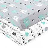 Stretchy Fitted Crib Sheets Set-Brolex 2 Pack Portable Crib Mattress Topper for Baby Boys...
