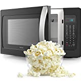 hOmeLabs Countertop Microwave Oven - 1.3 Cu. Ft., 1050W, Black with One-Touch Cook Functions,...