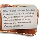 Engraved wallet insert,Stainless steel Wallet Card Insert,Engraved love message,Valentine's Day,...