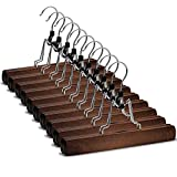 High-Grade Wooden Pants Hangers with Clips 10 Pack Non Slip Skirt Hangers, Smooth Finish Solid Wood...