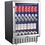 Aobosi 24' Beverage Cooler 164 Cans Freestanding and Built-in Beverage Refrigerator with Advanced...