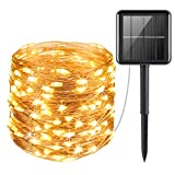 AMIR Upgraded Solar Powered String Lights, 100 LED Copper Wire Lights, Fairy Lights, Indoor Outdoor...