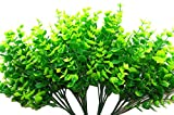Artificial Eucalyptus 14' Plastic Shrubs Of Green & Yellow Leaves, 4 Bundels X 7 Stems, Faux...