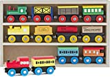 Play22 Wooden Train Set 12 PCS - Train Toys Magnetic Set Includes 3 Engines - Toy Train Sets For...